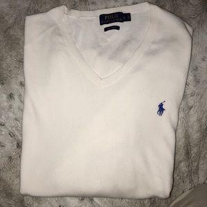 Men's pima white vneck sweater Polo Ralph Lauren L